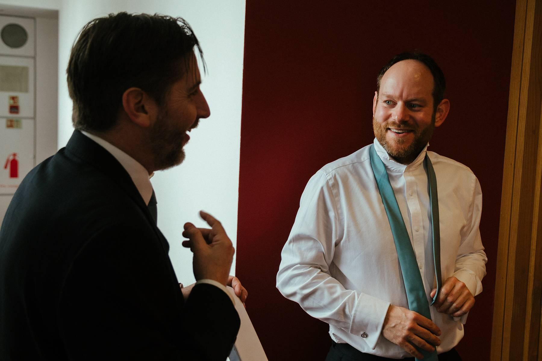 Groom getting ready in the venue